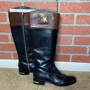 Michael Kors Black and Tan Everyday Boots Size 8